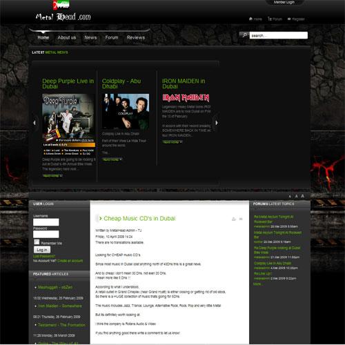 Сайт на joomla 1.5, любителей тяжелой музыки в ОАЕ