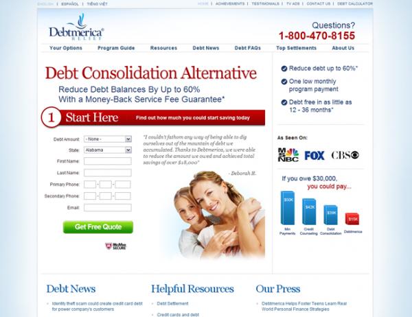Сайт компании Debtmerica Relief
