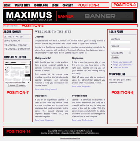 Позиции модулей новостного шаблона Joomla 1.6 Maximus