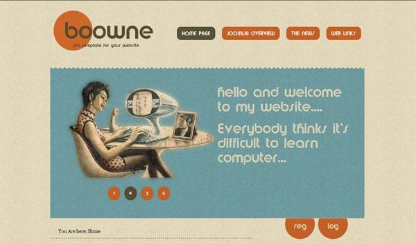 Скачать ретро шаблон для Joomla 1.5 - Boowne