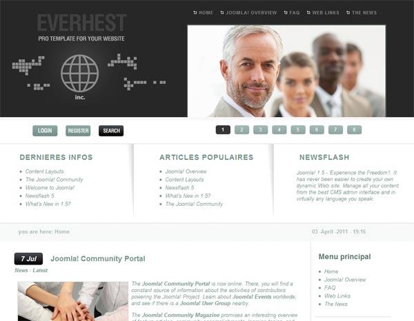 Скачать корпоративный шаблон для Joomla 1.6 под бизнес сайт - Everhest1.6