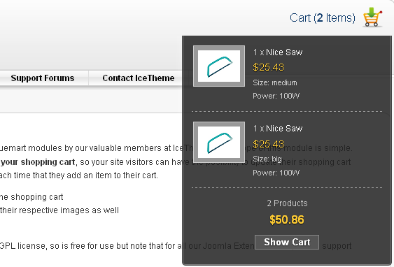 IceVmCart - модуль корзины для VirtueMart
