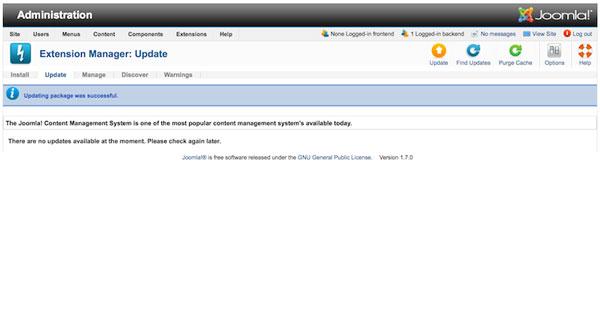 Обновить Joomla 1.6.х до Joomla 1.7.0 - финал обновления