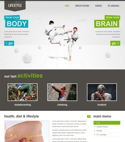 Бесплатный спортивный шаблон для Joomla 3.0 - JM-Lifestyle