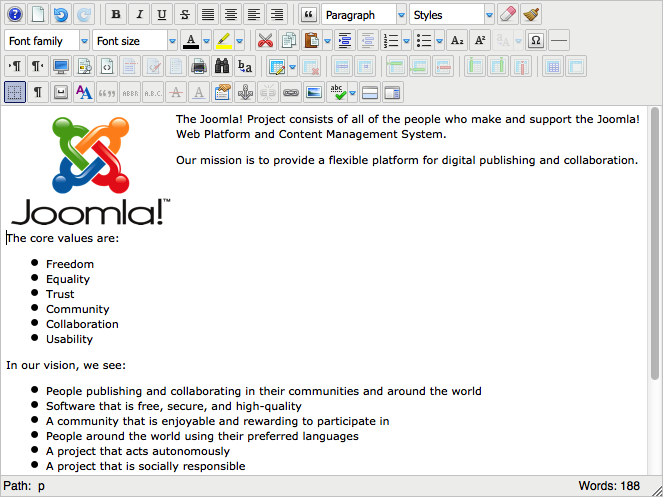 Советы по работе с визуальным редактором JCE в Joomla